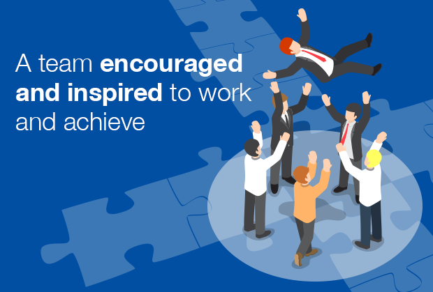 A team encouraged and inspired to work and achieve